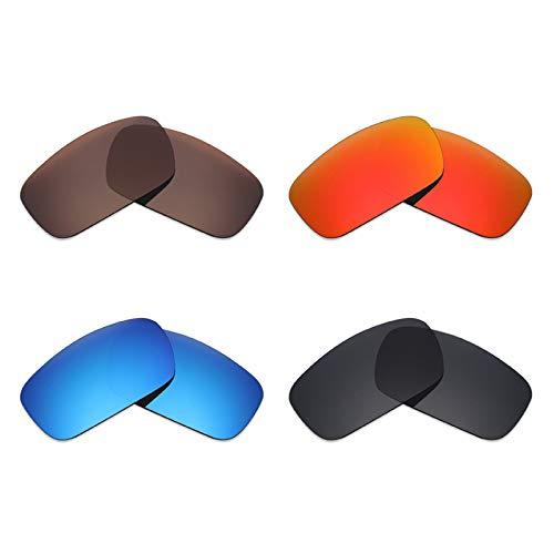 Mryok Lot de 4 paires de lentilles polarisées de rechange pour lunettes de soleil Oakley - Noir furtif, rouge feu, bleu glace, marron bronze