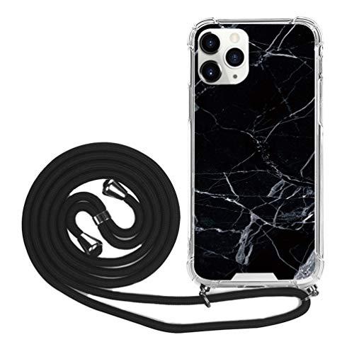Handykette Anhänger Hülle Kompatible für Handyhülle iPhone 11 Pro Silikon Case TPU Cover Umhängeband Trageschlaufe Kordel Lanyards Schutzhülle Schnur Bumper Schale mit Hand Strap-Schwarz Marmor