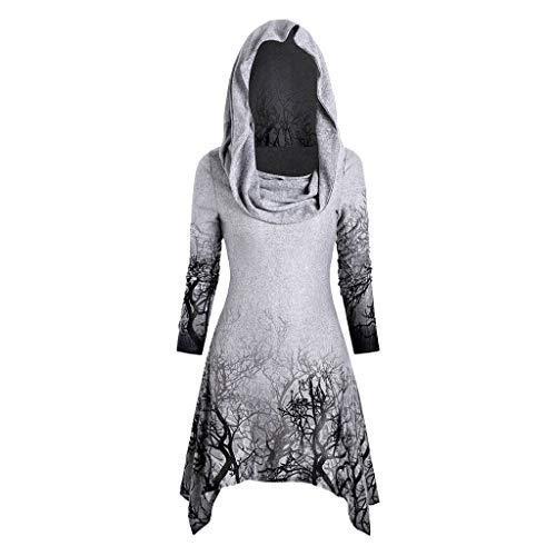 Hotopick Sweatshirt Pullover Tops Slim Fit Pulloverkleid Herbst Und Winter Kapuzenpullover Tree Print Cabrio Kragen Asymmetrische Strickwaren Mantel Tops