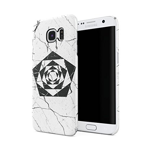 Cracked White Marble & Black Onyx Pentagon Tunnel Illusion Hard Thin Plastic Phone Case Cover For Samsung Galaxy S7 Edge