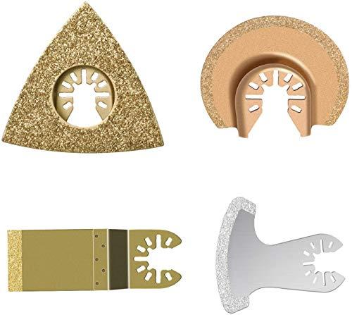 Hoja de Diamante Multiherramienta Compatible con Bosch Chicago Craftsman De-walt Dre-mel Fein Cuchillas Oscilantes de Corte de Metal Accesorios por Poweka (paquete de 4)