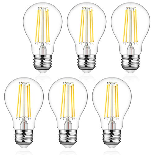 Defurhome A19 Filament LED Light Bulb, 6W (60W Equivalent), Classic E26 Clear Glass LED Bulbs, 750 Lumens, Daylight White 4000K, Non-Dimmable, Standard Replacement (6-Pack)