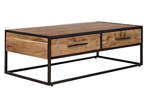 massivum Couchtisch Oklahoma 120x40x60 cm Akazie Massiv-Holz  natur lackiert mit Metall-Gestell schwarz lackiert mit 2 Schubladen