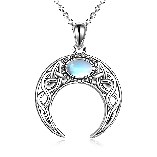 Moon Necklace Sterling Silver Moonstone Pendant Lucky Celtic Knot Cresent Moon Jewelry Necklace for Women