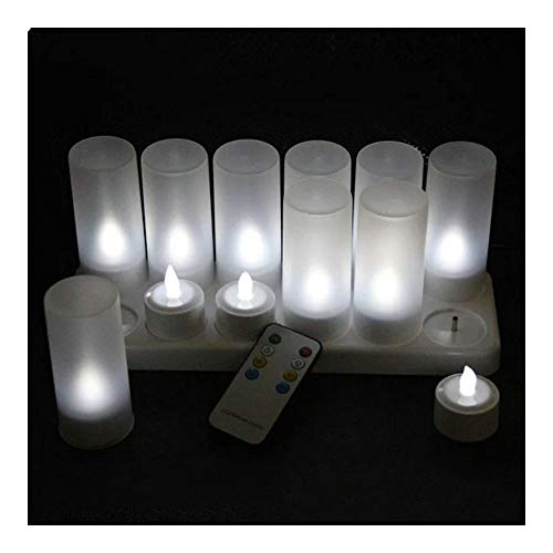 SSBHJXB 12 Piece Set Remote Control Rechargeable Flameless Candle Light 4H/8H Timer Controller Frosted Stand F/Christmas Party Decoration (Color : COLD WHITE)
