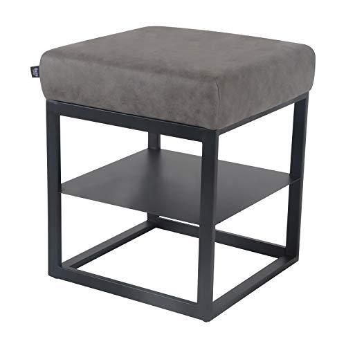Damiware Otto Moderner Polsterhocker, Sitzhocker Hocker Sitzbank Fußbank Beistelltisch Nachttisch Pouf mit Samt Stoffbezug | (Stone, 43 x 43 cm)