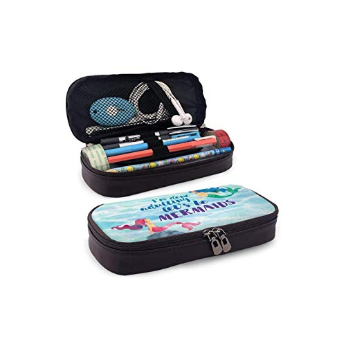 BBED Big Capacity Leather Pencil Pen Case, School Office Students Holder Box, Stationery Organizer Bag Pouch, Disney Ariel Little Mermaid Watercolour