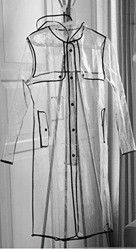 Inmozata Damen-Regenmantel transparent Lang Kapuze, Größe 8-14