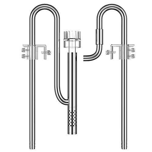 NICREW Einlauf Auslauf Aquarium, Edelstahl Lily Pipe Filterrohr Wasserleitung mit Acryl Oberflächenabsauger Wasseroberfläche Skimmer, 16mm