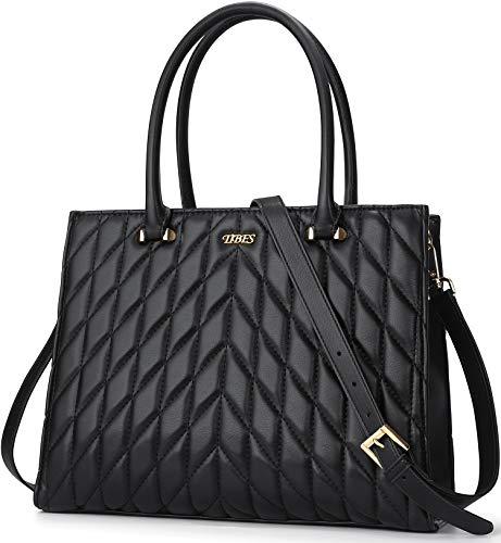 TIBES Handtasche Damen Shopper Damen Groß Schultertasche Elegant Henkeltasche Damen PU Leder Tasche Schwarz