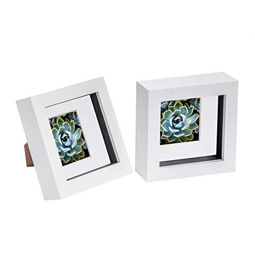 Nicola Spring 2 Stück 4 x 4 3D Shadow Box Photo Frame Set - Craft Anzeigen Bilderrahmen mit 2 x 2 Montieren - Glas Aperture - Weiß