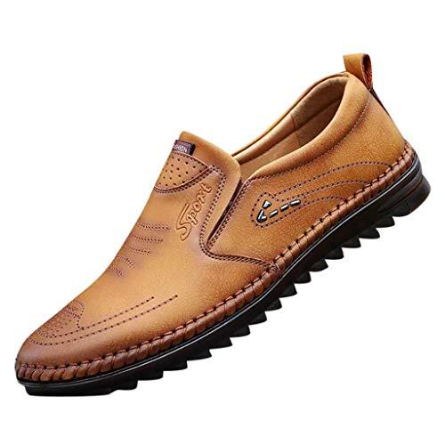 MENICY schuhe herren Fahrschuhe weiches Rindsleder Erbsenschuhe Freizeitschuhe rutschfeste Schuhe mit weicher Sohle Leder Peas Schuhe Lässige flache Businessschuhe