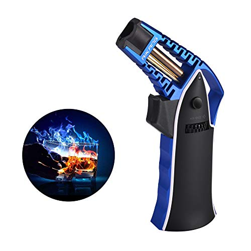 Cooking Torch Lighter Butane Refillable Mini Creme Brulee Torch Culinary Blow Torch Kitchen Hand Torch Professional Chef Torch for Food Melting Glaze Jewelry Craft Butane Gas Not Included/Blue