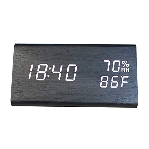 DLSMB-HO Digitale wekker met snooze led-digitale wekker met tijd/datum/temperatuur/luchtvochtigheid, USB, stroomvoorziening via batterij, bureaublad, klok, touchscreen