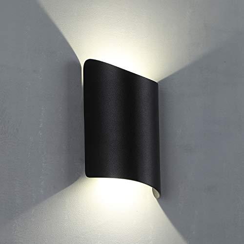 Charoom Außenbeleuchtung Wandlampe,10W Modern LED Wandleuchte Up & Down Aussenleuchte Für Außen und Innen, IP44 Spritzwasserschutz für Garten Terrasse (Schwarz,4000K)