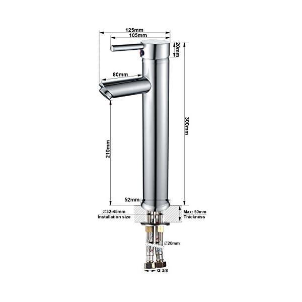 BONADE Grifo de Lavabo Monomando Alto Mezclador del Lavabo Grifería de Baño Agua Fría y Caliente Cromado