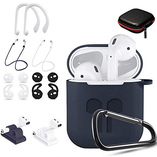 TOLUOHU AirPods Case, 12 in 1 Silicone AirPods 1&2 Accessories Set Protective Cover, Skin for Apple AirPods Charging Case, Watch Band/Airpods Tips/Strap/Holder/Ear Hooks/Keychain/Carrying Box(Blue)