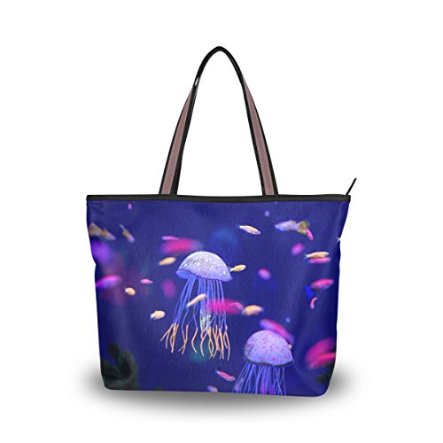 JSTEL Große Handtasche für Damen, mit Tragegriff und Schulterriemen, Unterwasserwelt, Fische, Aquarium, Muster Gr. M, C 02