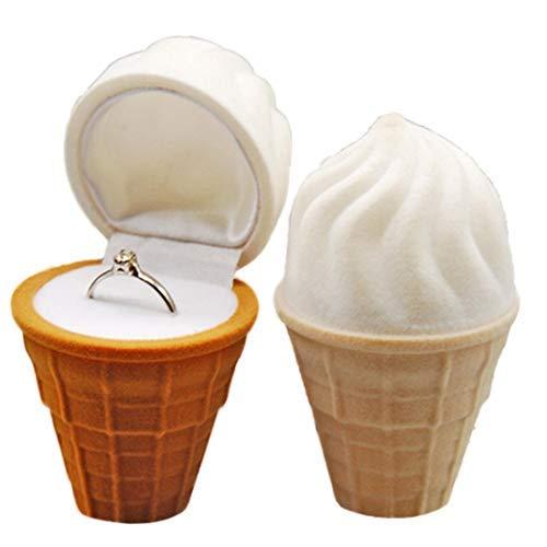 2パックスノーコーン型リングボックス、アイスクリームコーンベルベット結婚指輪ケースジュエリーギフトボックスプロポーズ婚約結婚式夏のパーティーの好意