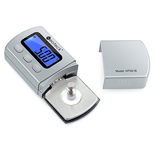 Neoteck Probador Escala Stylus Fuerza de la Placa Giratoria Escalas 0,01 g Retroiluminación Azul para LCD Brazo de la Placa Giratoria Fono Caja de Música-plata