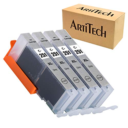 ArtiTech Replacement for Canon CLI-251 GY Gray CLI-251GY XL Gray Ink Cartridge Work for Canon PIXMA MG6320 Pixma MG7120 Pixma MG7520 Pixma IP8720 Printers, 4 Pack 251XL GY Ink Cartridges