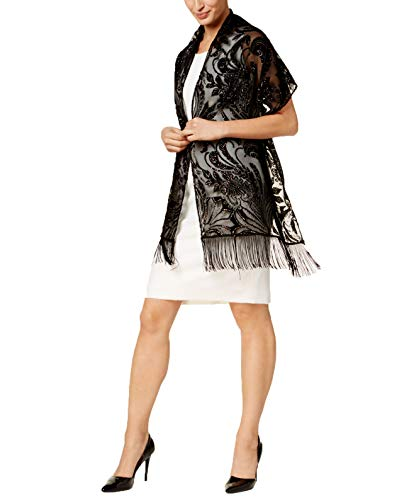 Price comparison product image INC International Concepts Womens Black Embellished Paisley Evening Wrap Scarf