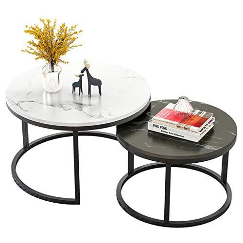 JJHOME-Möbel Satztische mit 2 Tischen, MDF Runder Beistelltisch Kleiner Kaffee-Tee-Tisch für Wohnzimmer (Weiß und Schwarz)