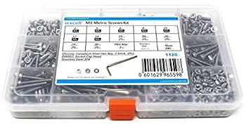 iExcell 1120 Pcs M3 x 4/5/6/8/10/12/14/15/16/20/25/30mm Thread Pitch 0.5 mm Stainless Steel 304 Hex Socket Head Cap Screws Bolts Nuts Washers Assortment Kit