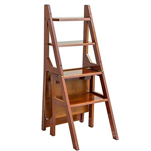 SGMYMX Trittleiter Vier-Stufen-Leiterstuhl, umwandelbare Klappbühnenleiter Schritt (Color : Brown)