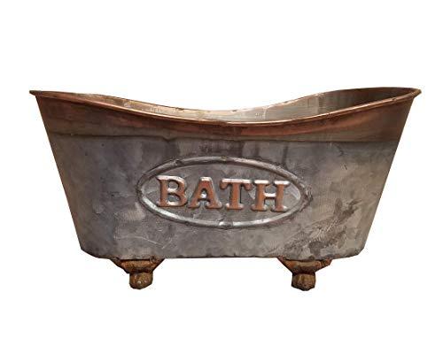 Vintage Claw Tub Caddy Galvanized Metal with Copper Accents Bath Storage