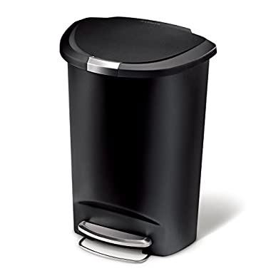 simplehuman 50 Liter/13 Gallon Semi-Round Kitchen Step Trash Can, Black Plastic With Secure Slide Lock
