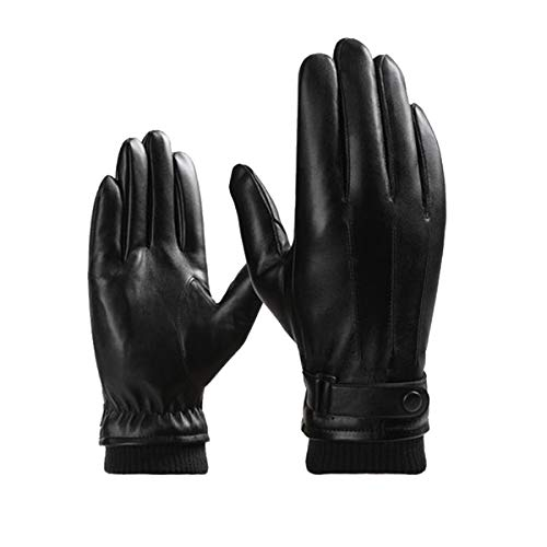 VAQM Men Leather Gloves Warm Winter Gloves Touchscreen Gloves Driving Gloves Fleece Lined Gloves Cold Weather Gloves (Men Winter Gloves for Black 1, One Size)