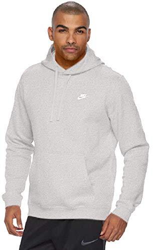 Nike M Nsw Po Flc Club, Felpa Con Cappuccio Uomo, Grigio Scuro/Grigio Scuro/Bianco, XL