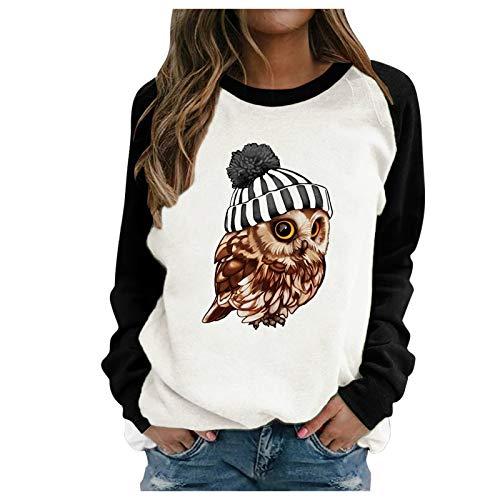 Masrin Mask Frauen Sweatshirt Damen Casual Owl Animal Print Nähen Farbe Kontrast Top Langarm O-Ausschnitt Pullover Bluse(M,Schwarz)