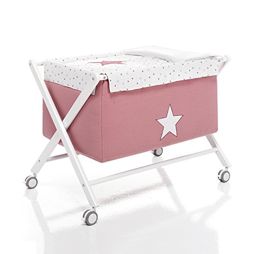 Alondra Rose 670-18223 - Minicuna tijera completa, color rosa/blanco