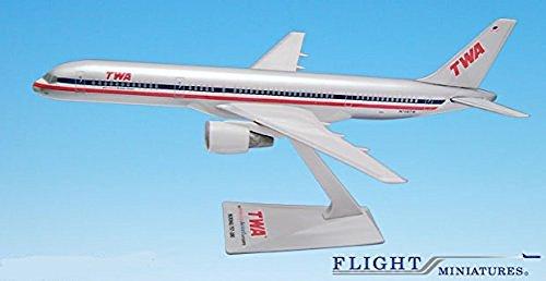 TWA/AA Trans (01-02) 757-200 Airplane Miniature Model Plastic Snap Fit 1:200 Part#...
