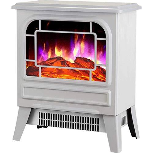 XHHWZB Startseite Heizung, Kamineinsatz, Einbau gebaut und freistehender Kamin Heizung LED justierbare Flamme mit brennendem Kamin (Color : White)