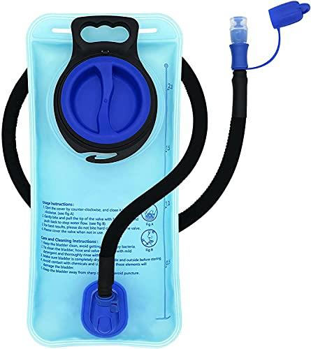 Bolsa de Hidratación 2L, Bolsa de Agua Portátil,Libre de BPA, con una Boca Ancha,Tapa a Prueba de Fugas, y Tubo de Aislados, para Ciclismo,Senderismo,Campamento,Escalada y Bicicleta-azul