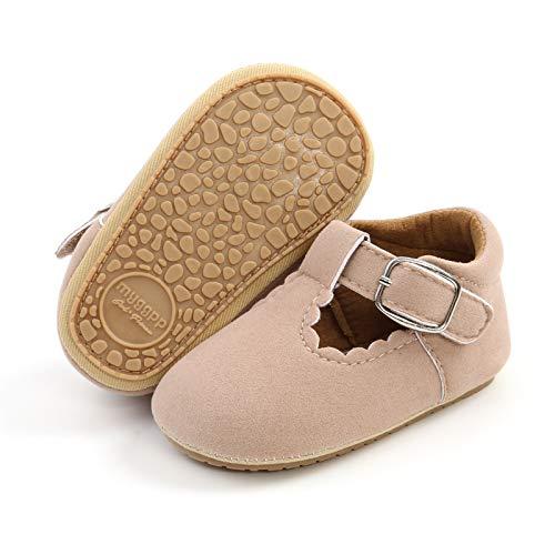Mocasines para bebé niña princesa brillante, zapatos de vestir Mary Jane Premium ligeros suela suave zapatos para cuna, (A1-suede albaricoque), 6-12 meses