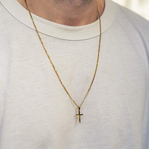 Halskette mit Kreuz für Herren - Kreuzkette Gold-Kette - Made by Nami Herrenkette - Dezente Handmade Kette mit Gold Anhänger (Kreuz, Gold)