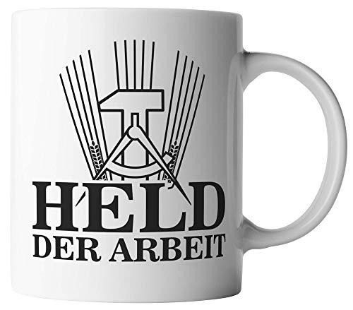 vanVerden Tasse - Held der Arbeit - beidseitig Bedruckt - Kaffeetassen, Tassenfarbe:Schwarz