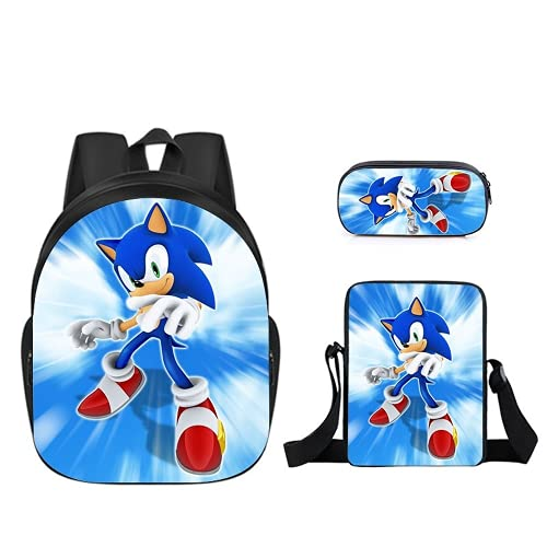Sonic The Hedgehog Ma-Rio - Mochila impermeable para niños y niñas, Sonic8, 16',