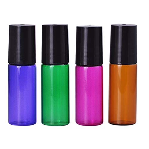 HEALLILY 4 Botellas de Bola de Rodillo de Vidrio 5Ml Rollo Recargable en Botellas Contenedor Desodorante Vacío para Perfumes de Aceites Esenciales Loción Cosmética (Color Mixto)