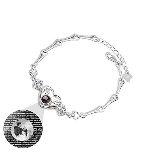 Personalized Photo Bracelet 100 Different Languages I Love You Bracelet Love Memory Bracelet Customized Bangle Promise Bracelet(Silver Black and White)