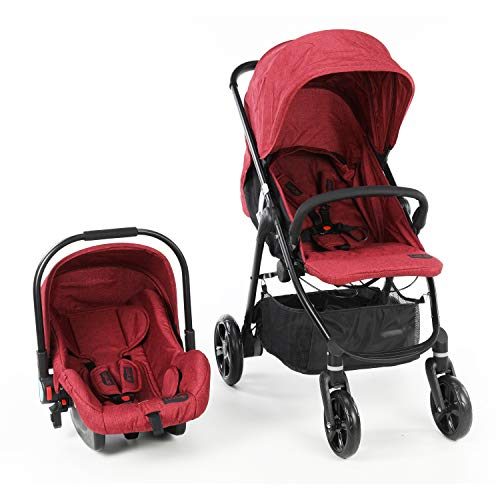 LuvLap Optima Stroller & Travel System/Pram with Car Seat for Newborn Baby/Kids, 0-3 Years (Red)