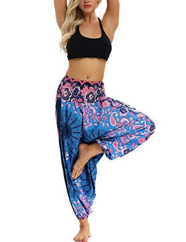 besbomig Damen Haremshose Beiläufig Lose Breites Bein Hippie Hose - Hohe Taille BohemienStil Tanzen Yoga Pilates Hosen