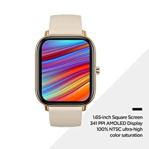 Amazfit GTS Smartwatch with 14-Day Battery Life,1.65 Inch AMOLED Display, Customizable Widgets, Slim Metal Body, 5 ATM Water Resistance, 24/7 Heart Rate and Activity Tracking, Desert Gold