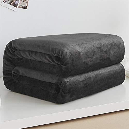 FMM Weiche warme Fleece-Decke für den Winter, Tagesdecke, Sofa-Überwurf, 220 g/m², 6 Größen, leicht, dünn, mechanische Waschung, Flanelldecken, schwarz, 50 x 70 cm, 20 x 28 cm klein