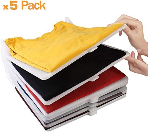 T-shirt Organizer, Kast Organisator, Kledingkast Organizer. Stapelbaar, Robuust, Vochtwerend, Anti-rimpel. Overhemden in Lade, Kasten, Closet, Kleding, Schuifladen, Planken. 5 stuk pack.