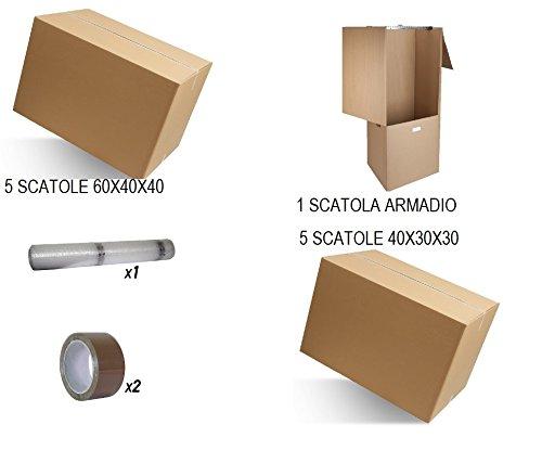 IMBALLAGGI 2000 - Kit Trasloco Mini Trasloco - 10 Scatoloni 60x40x40 e 40x30x30, 1 Scatola Porta Abiti, 2 Nastri da Imballo, 1 Rotolo Pluriball 1x10mt